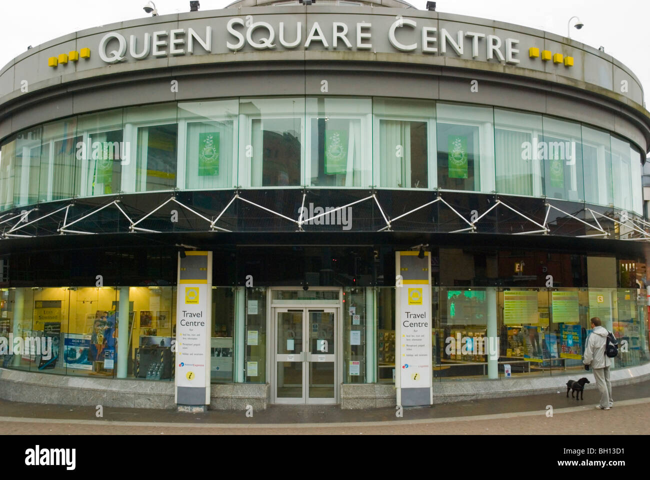 Queen Square Centre the travel information and ticket point in Liverpool England UK Europe - Stock Image