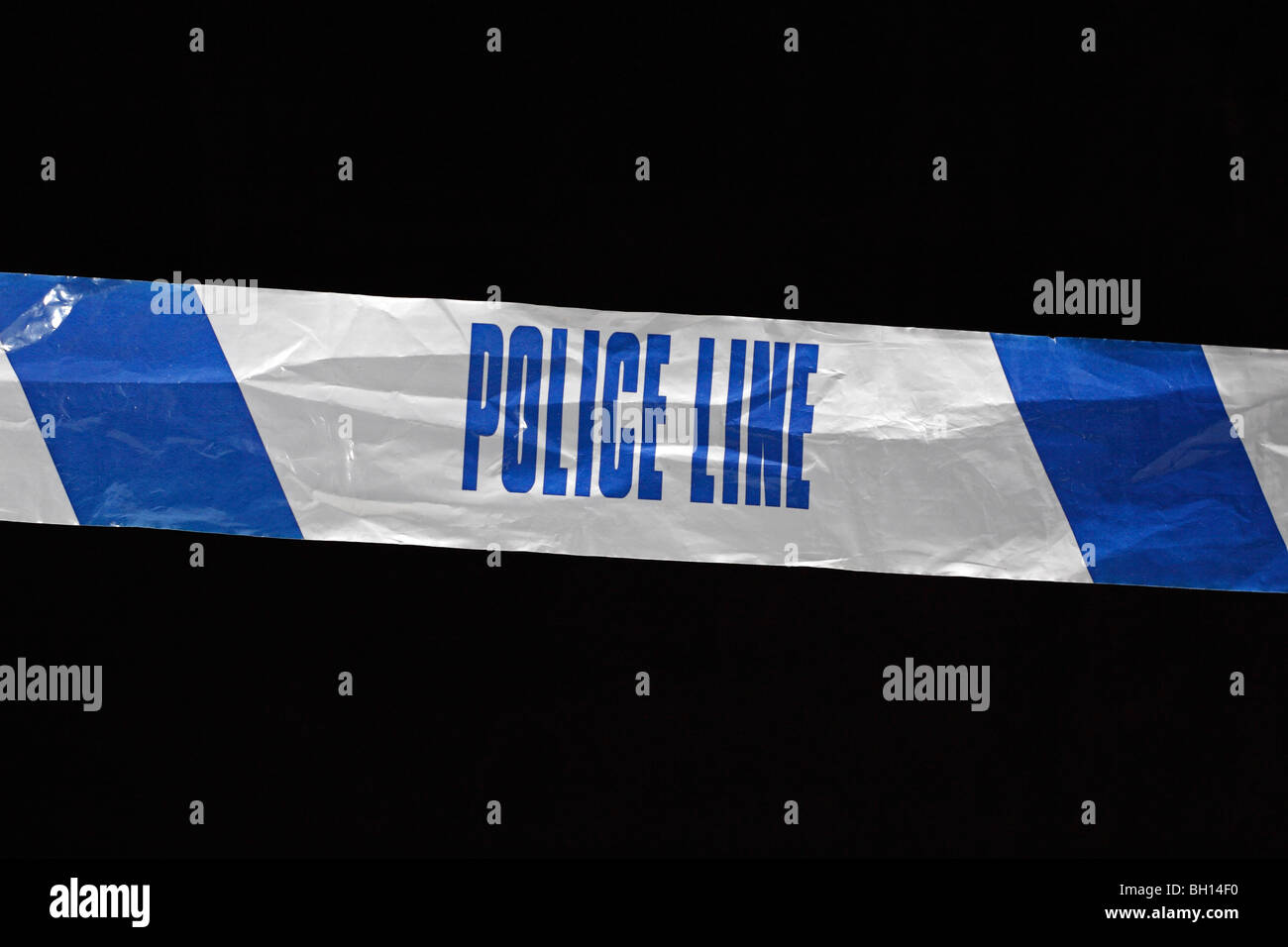 Police Line (Do Not Cross) tape from the United Kingdom (UK). Jan 2010 - Stock Image