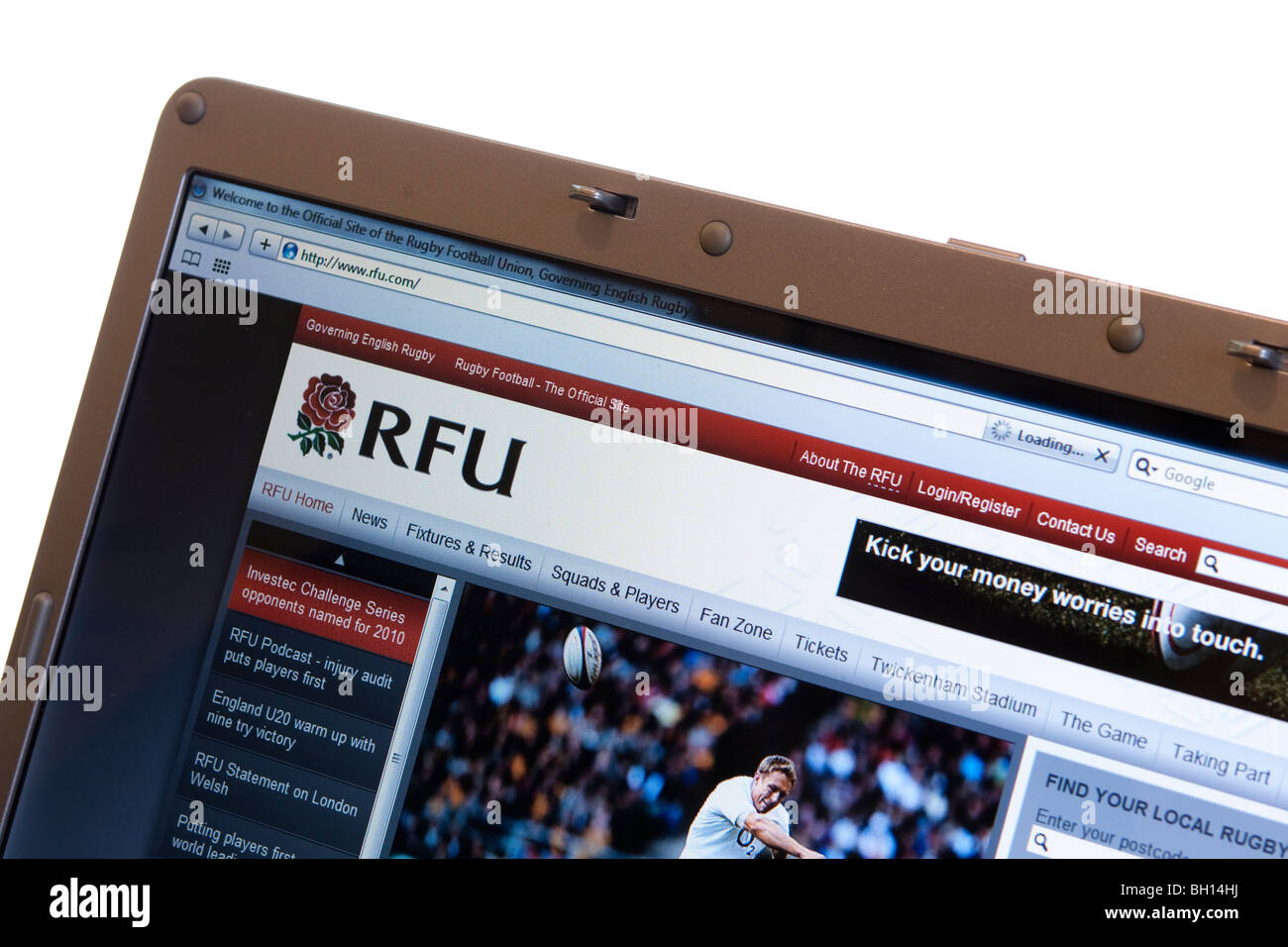 Rugby Football Union website on modern laptop - Stock Image