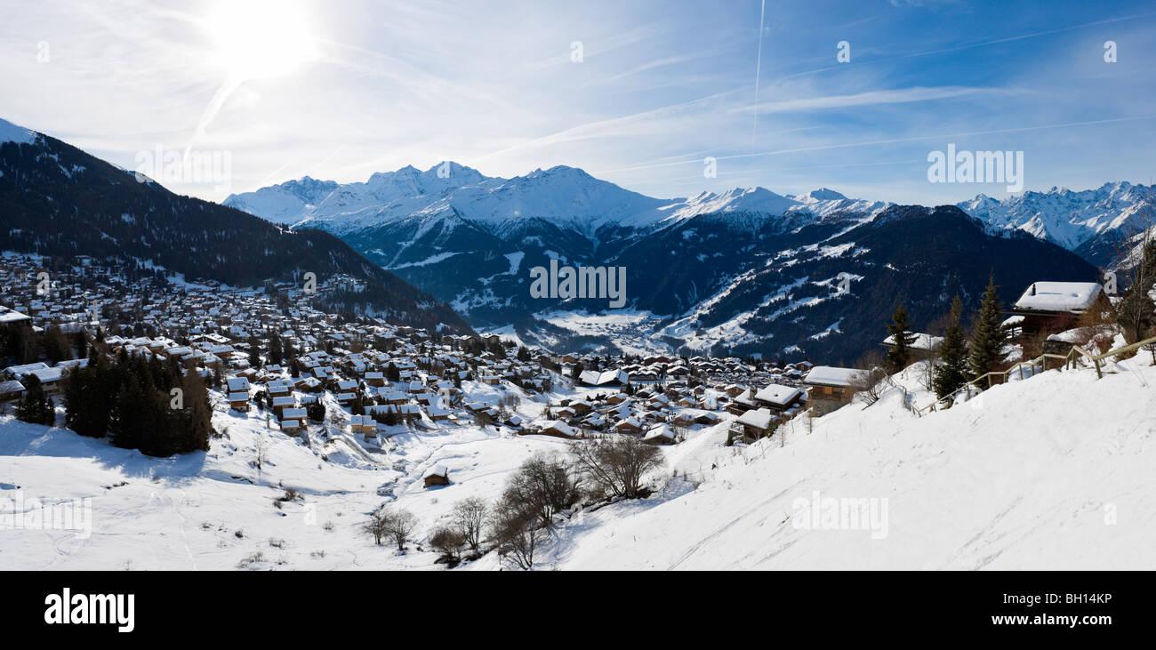Panoramic view over the resort of Verbier, Valais, Switzerland - Stock Image