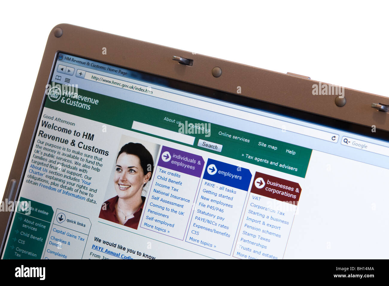 Tax website HM Revenue and Customs for UK taxation for individuals and employees - Stock Image
