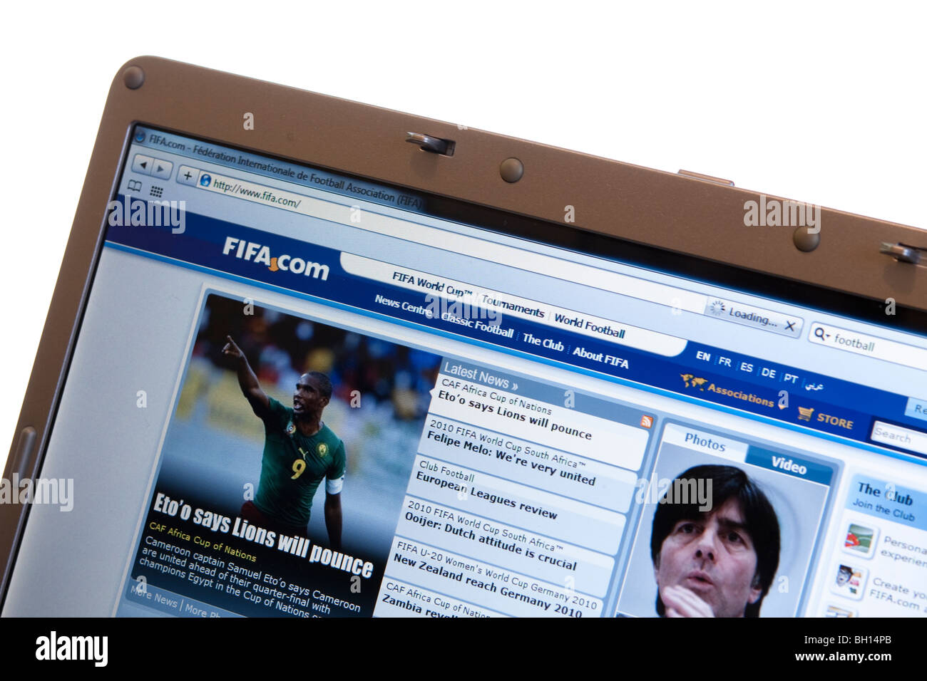 Close up of the FIFA website on a modern laptop - Stock Image