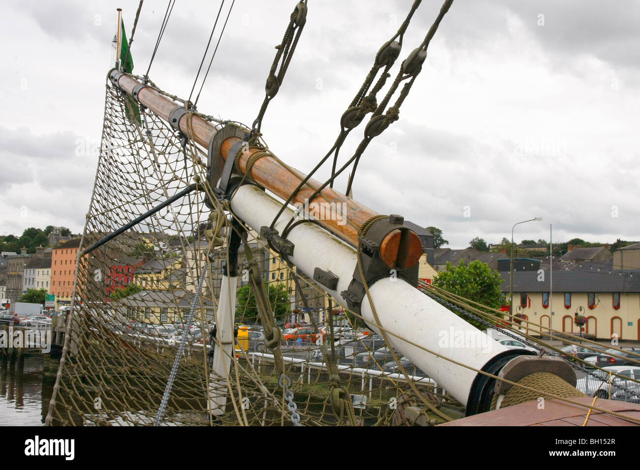 Bowspit of the famine ship Dunbody at New Ross, Eire. - Stock Image