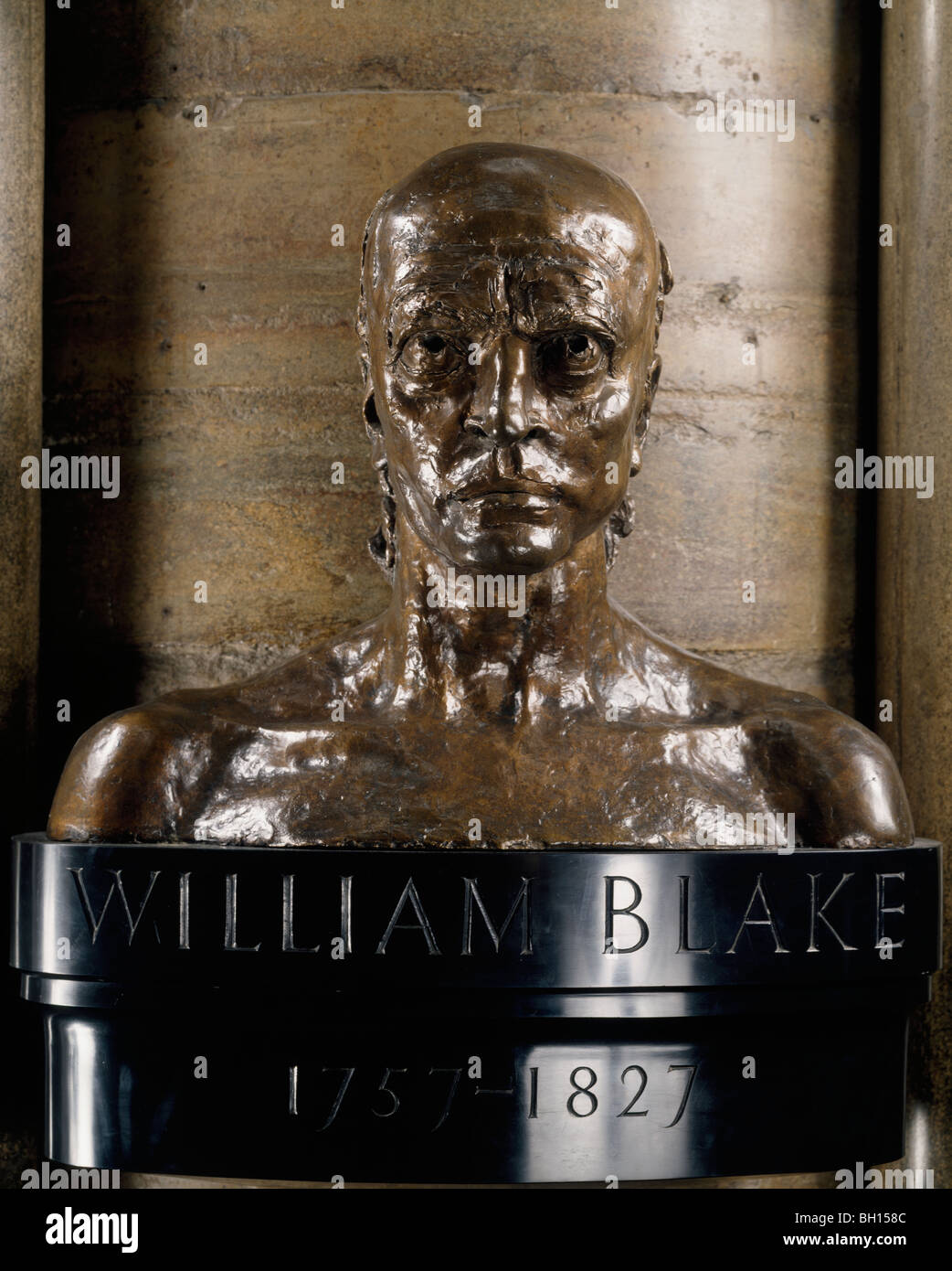 William Blake bronze bust by Jacob Epstein. South transept (Poet's Corner) Westminster Abbey London England - Stock Image