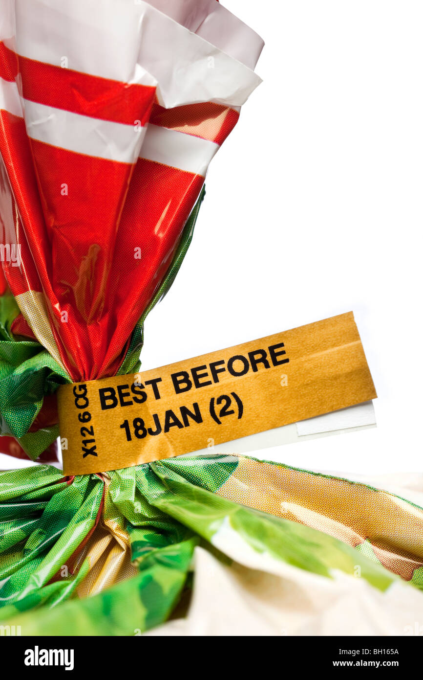 Close up of a Best Before food label information indicator on loaf of bread close up - Stock Image