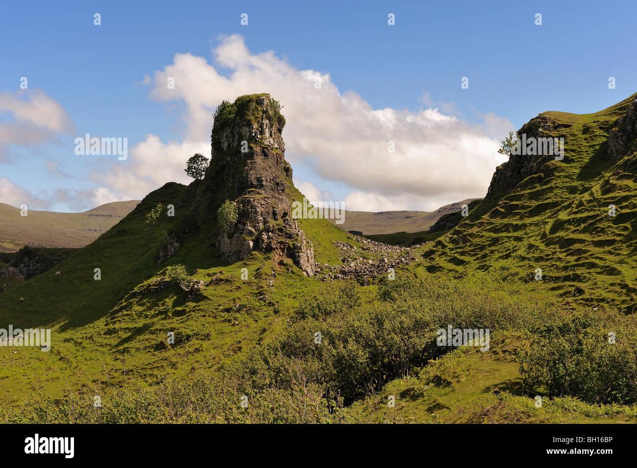 Unique basalt stack or pinnacle in Glen Uig, Trotternish, Isle of Skye, Scottish Highlands, UK. - Stock Image