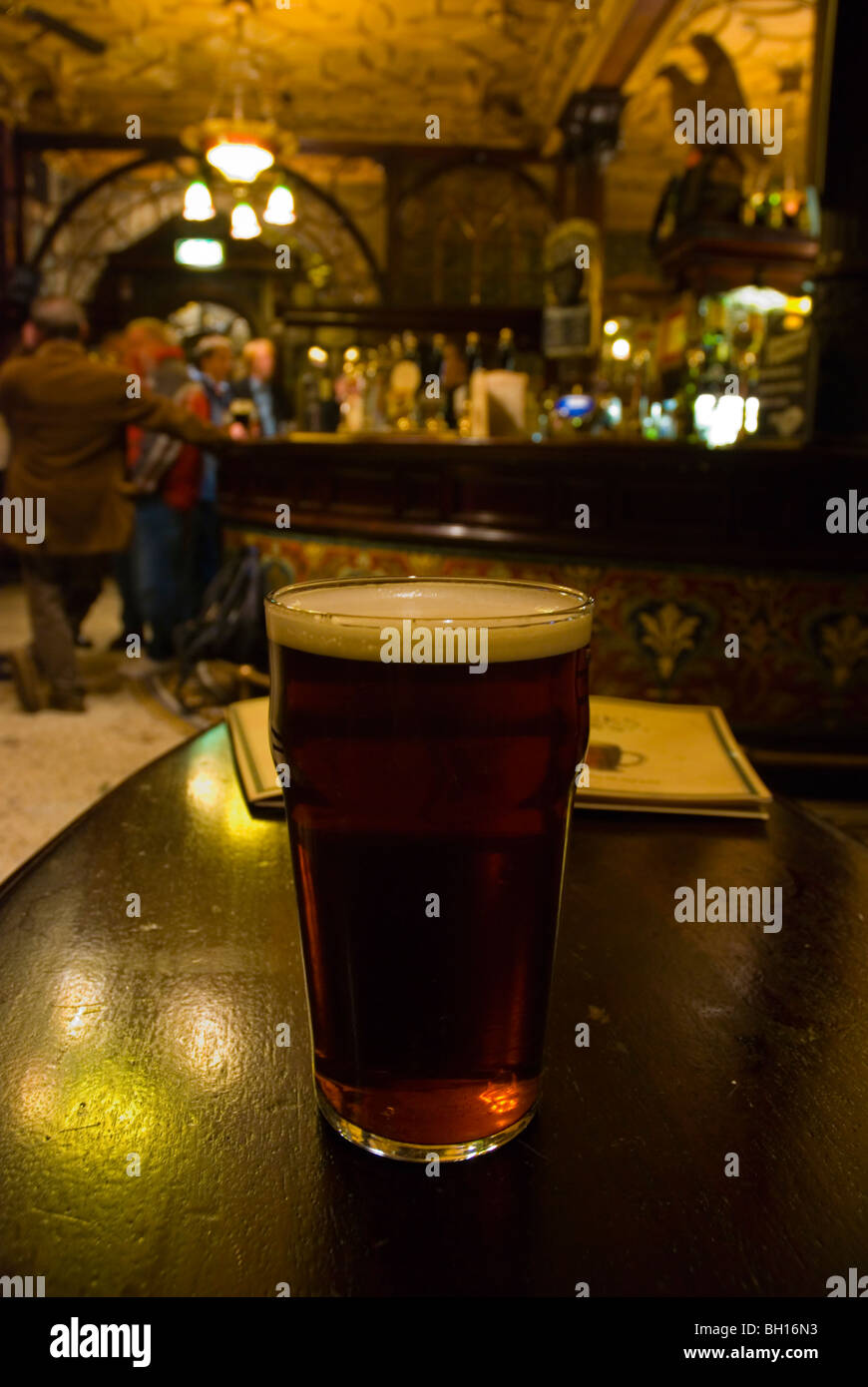 Pint of cask ale in The Philharmonic pub Liverpool England UK Europe - Stock Image