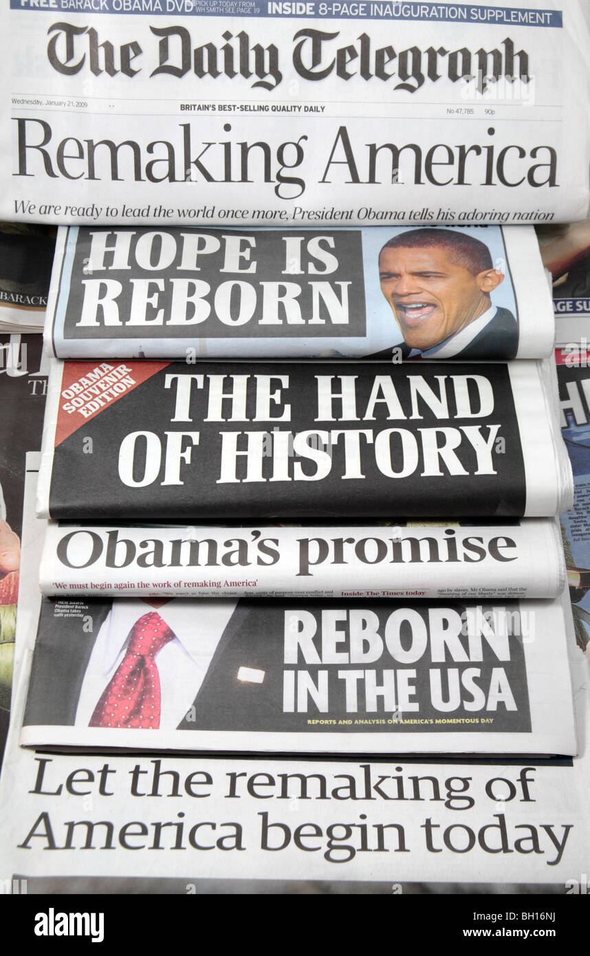 British newspapers headlines from 21st January 2009 of the inauguration of America's 44th President, Barack - Stock Image