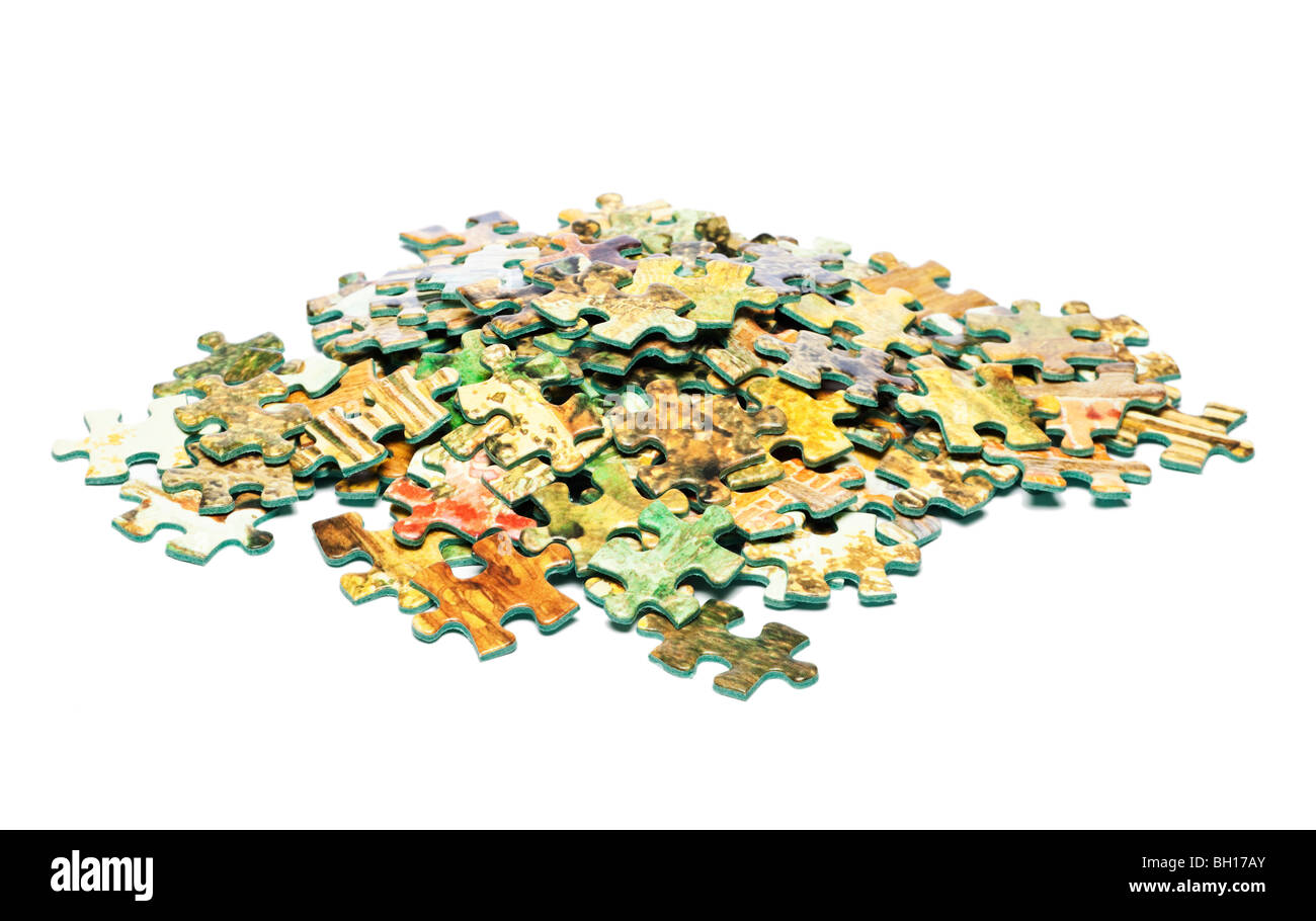 Pile of jigsaw pieces Stock Photo