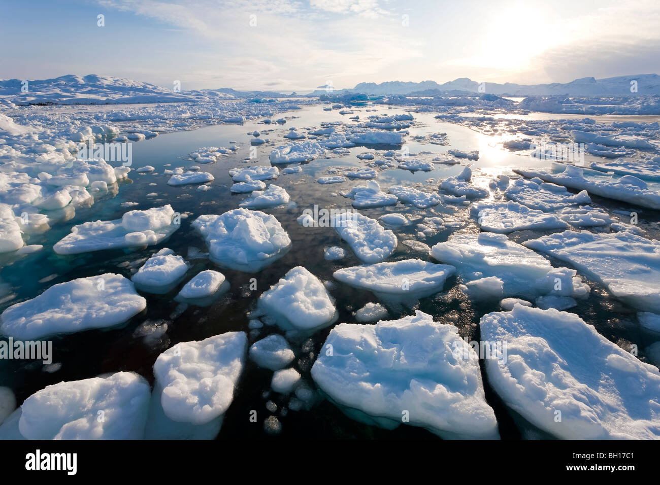 Tiniteqilaq and sea ice in fjord, E. Greenland - Stock Image