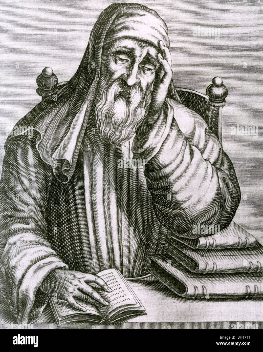 PLUTARCH  - Greek historian and philosopher (about 46-120 AD) in an 18th century engraving - Stock Image