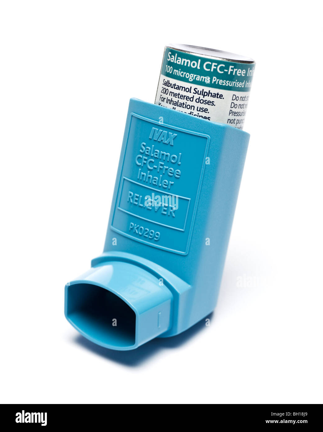Ventolin / Salbutamol Asthma inhaler close up selective focus - Stock Image
