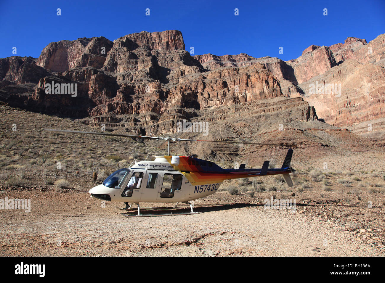 Helicopter landed in the Grand Canyon, Arizona, USA - Stock Image