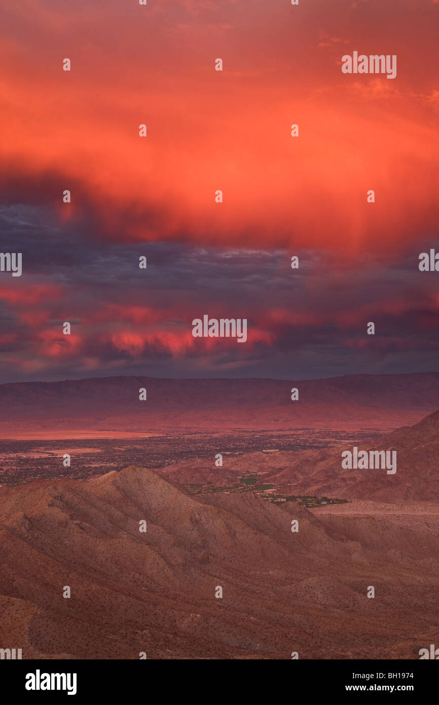 Sunset over Palm Desert and Rancho Mirage in the Coachella Valley, California. Stock Photo