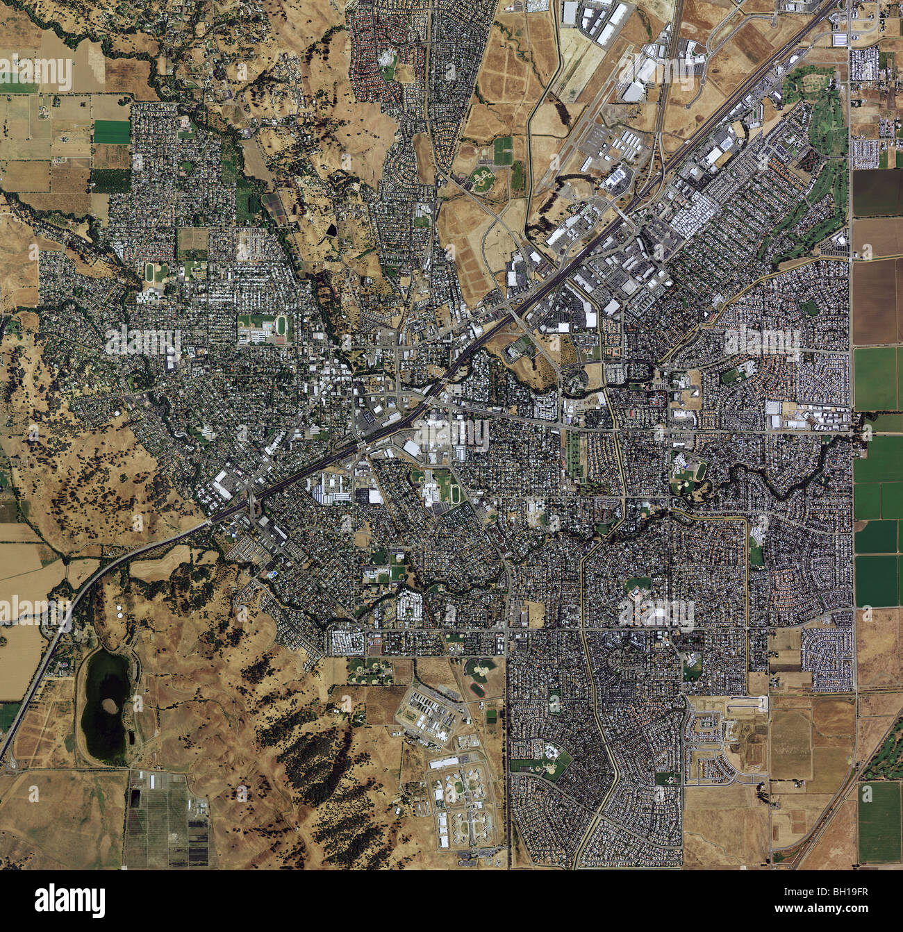 Map Of California Vacaville.Aerial Map View Above Vacaville Solano County California Stock Photo