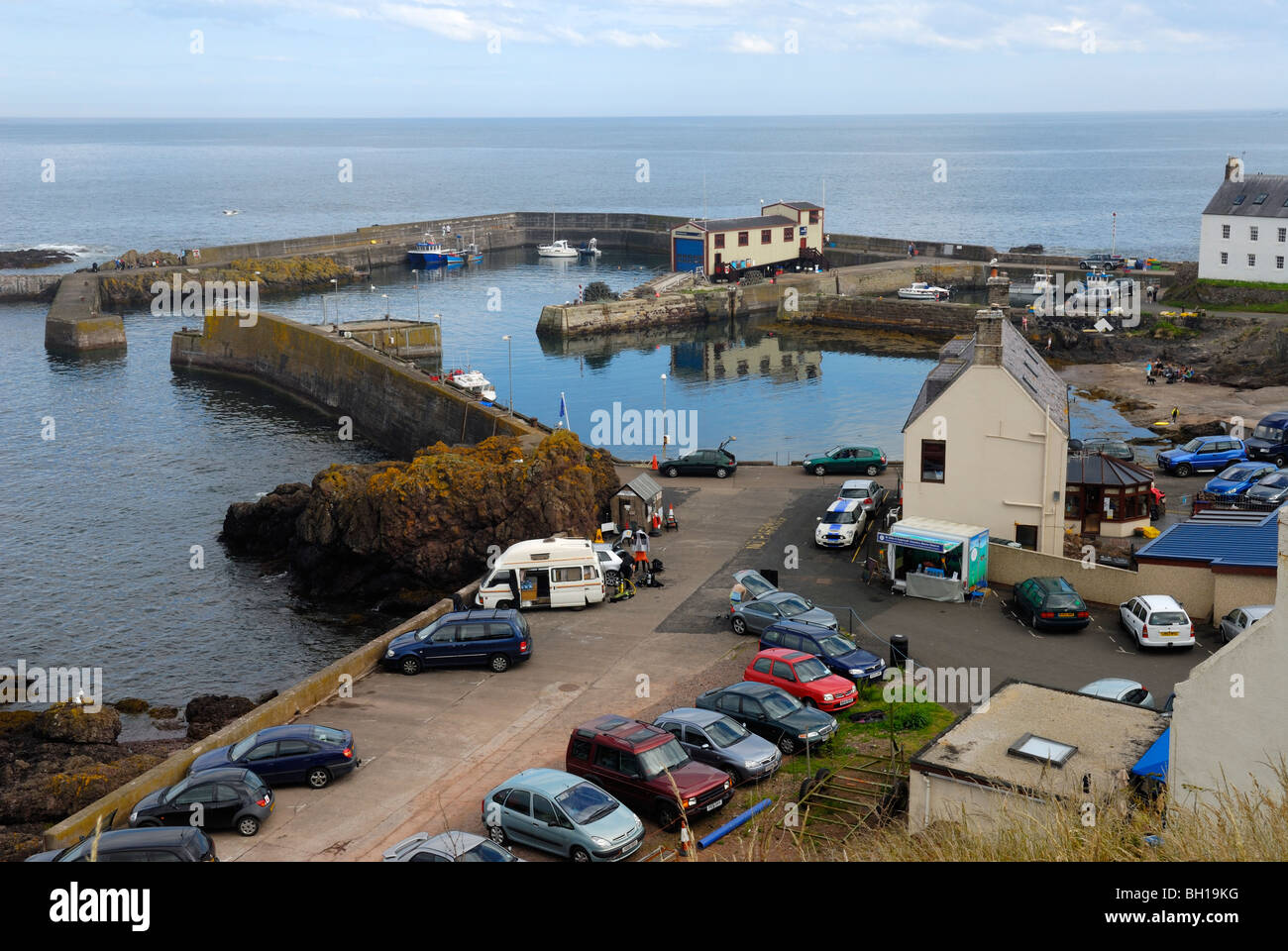 St Abbs harbour, Borders, Scotland - Stock Image