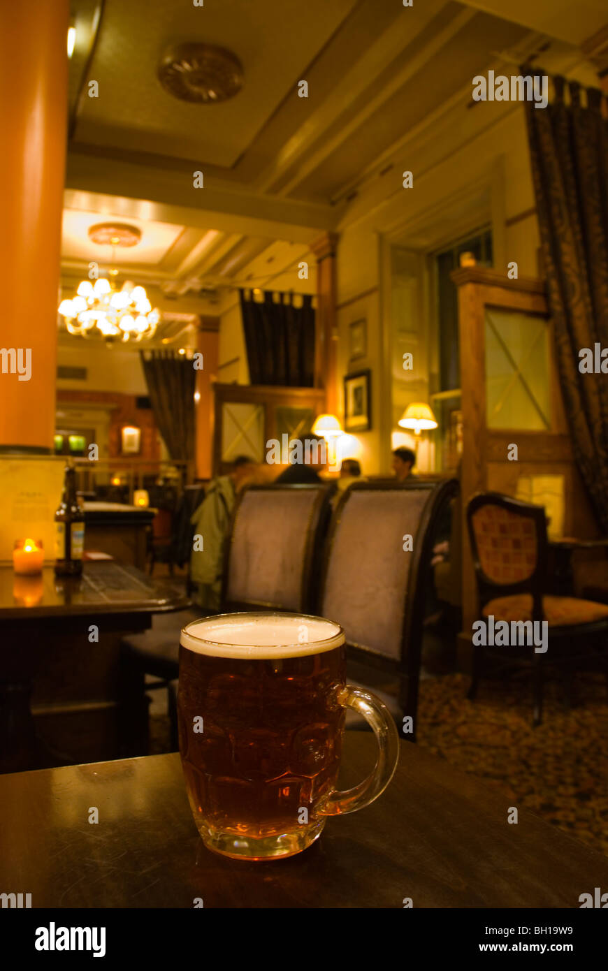 Pint of London Pride beer in Bank pub Manchester England UK Europe - Stock Image
