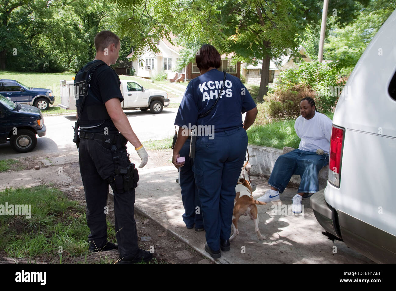Police and animal control notifies suspects that their dog will be taken into custody. The dog was chained up in - Stock Image