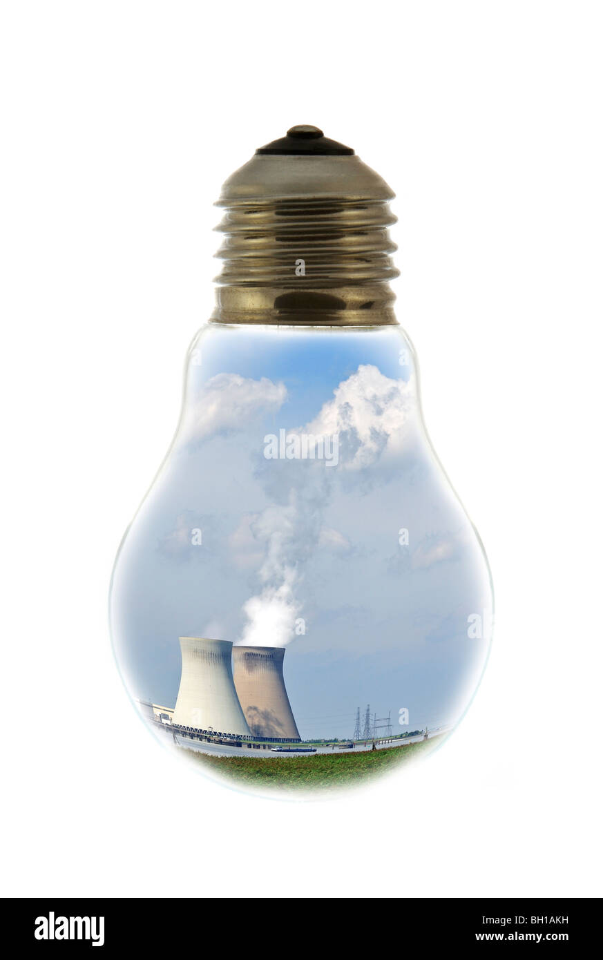 Cooling towers of nuclear power plant inside incandescent lamp / bulb against white background - Stock Image
