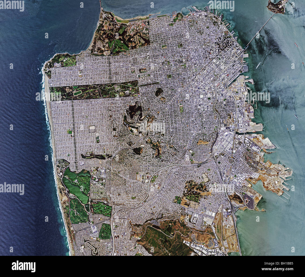 aerial map view above San Francisco California - Stock Image