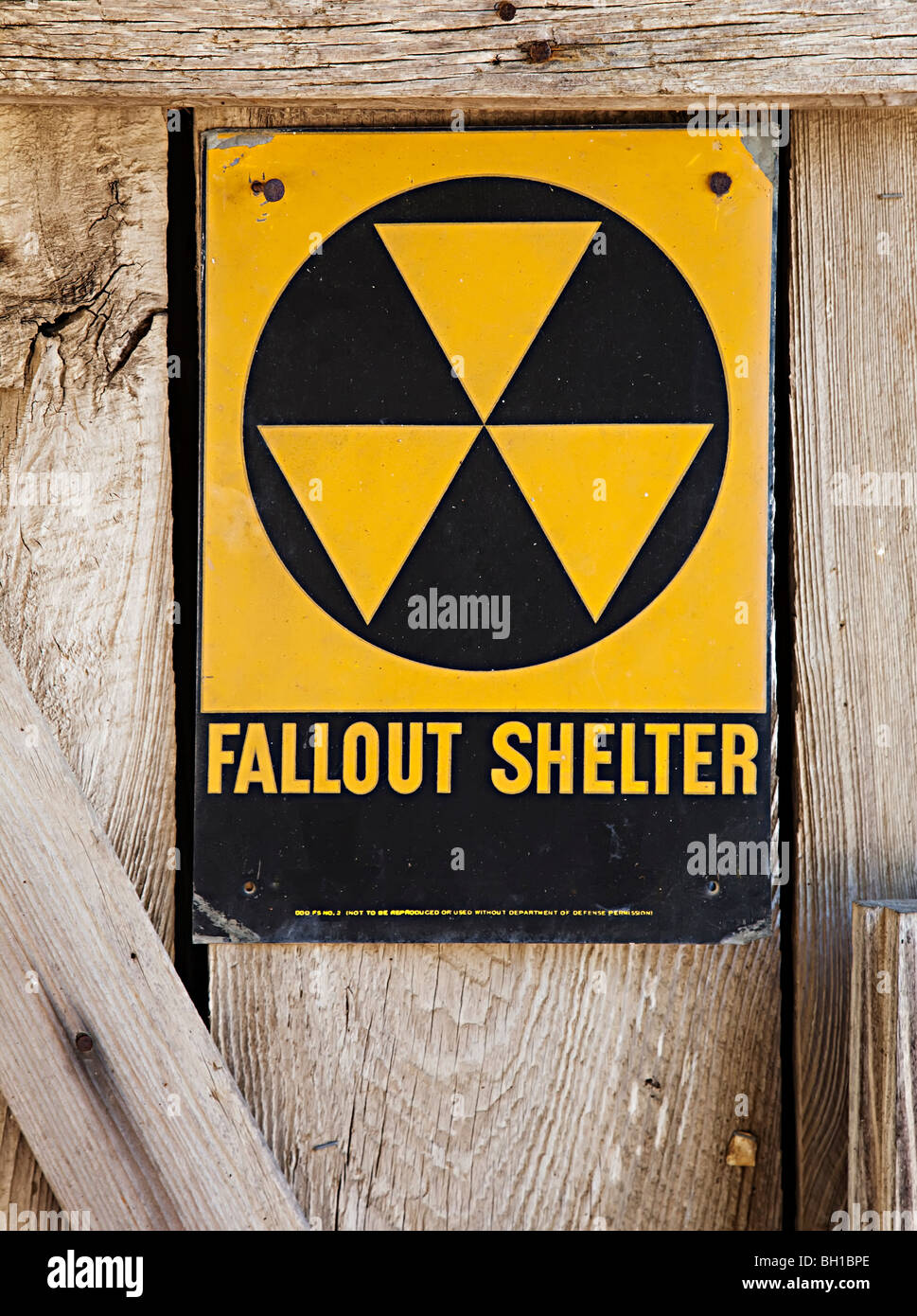 Fallout shelter sign Texas USA - Stock Image