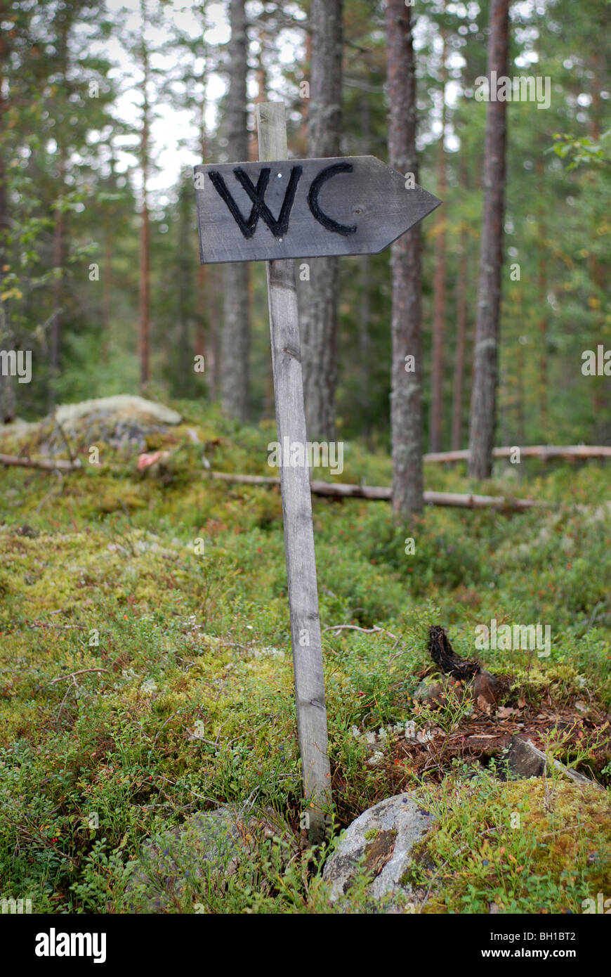 WC sign in forest - Stock Image