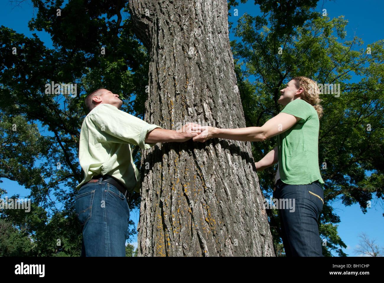 Couple hold hands around large tree, Assiniboine Park, Winnipeg, Manitoba, Canada Stock Photo