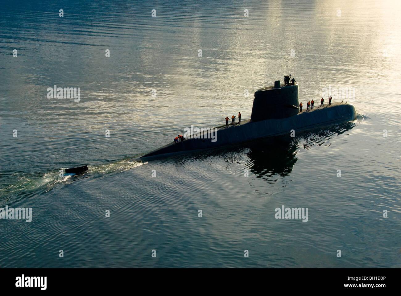 Santa Cruz class Submarine TR-1700 and crew of the Argentine Navy in ocean - Stock Image