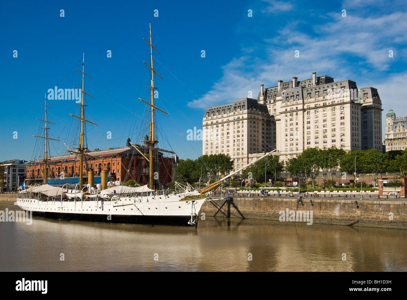 Libertador Building, a ship museum in the Puerto Madero Waterfront district of Buenos Aires, Argentina - Stock Image