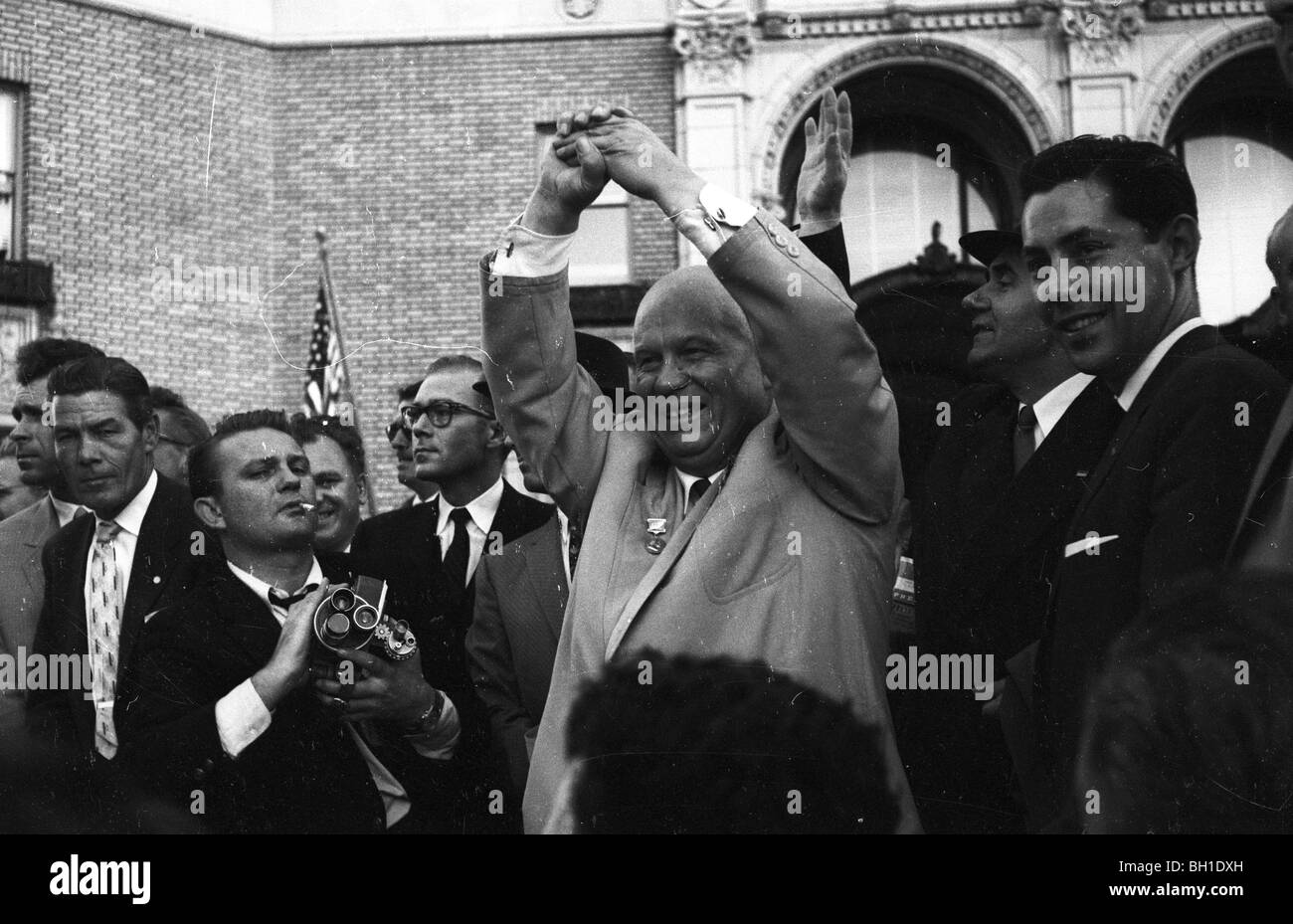 Nikita Khrushchev tours San Francisco during his 1959 tour of America. - Stock Image