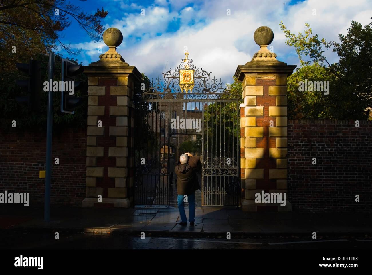 Gate of Jesus College Jesus Lane central Cambridge England UK Europe - Stock Image