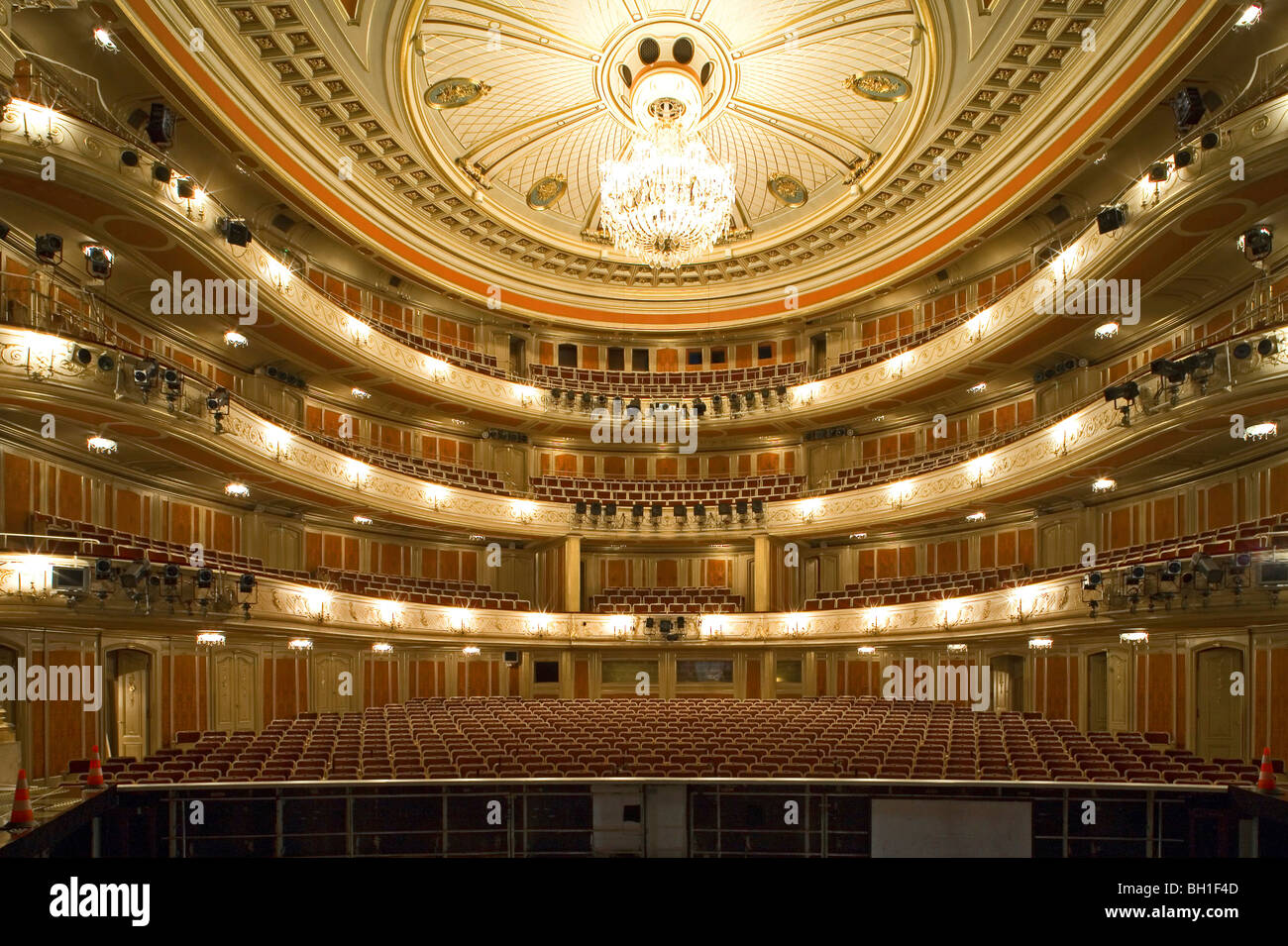 The deserted auditorium of the State Opera House, Unter den Linden, Berlin, Germany, Europe - Stock Image