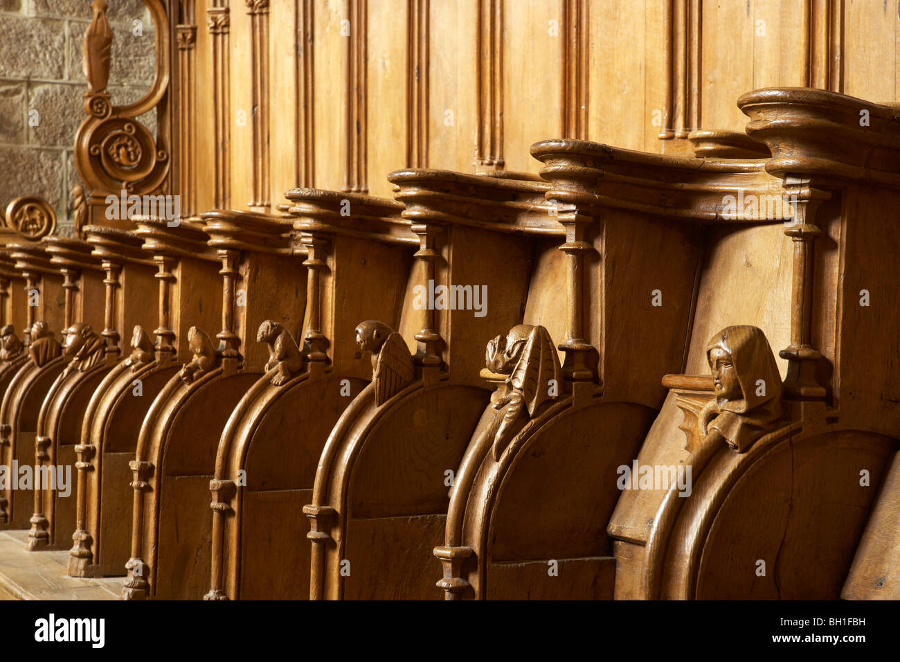 Stalls in the Église abbatiale Saint Pierre, Abbey church SaintPaul, The Way of St. James, Roads to Santiago, - Stock Image