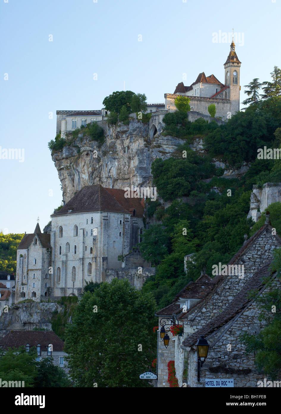 View of Rocamadour, The Way of St. James, Roads to Santiago, Chemins de Saint-Jacques, Via Podiensis, Dept. Lot, Stock Photo
