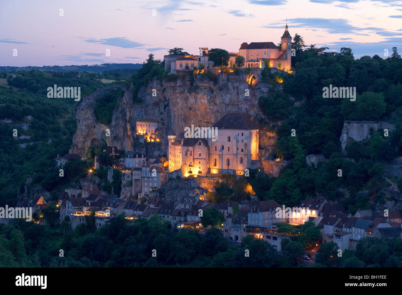 View of Rocamadour in the evening light, The Way of St. James, Roads to Santiago, Chemins de Saint-Jacques, Via - Stock Image