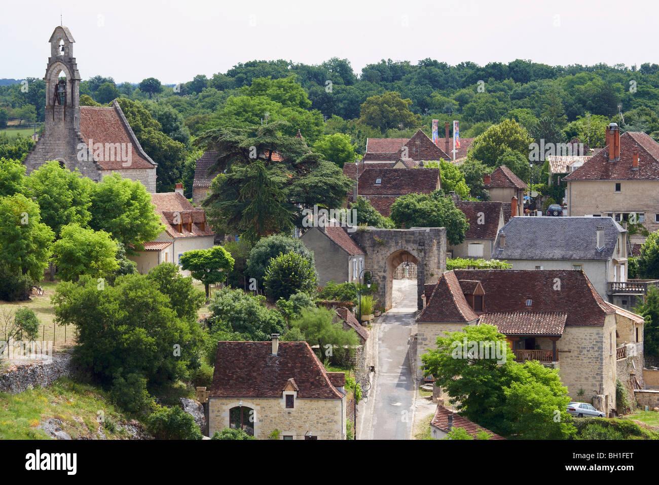 View of Hospitalet near Rocamadour, The Way of St. James, Chemins de Saint-Jacques, Via Podiensis, Dept. Lot, Région - Stock Image