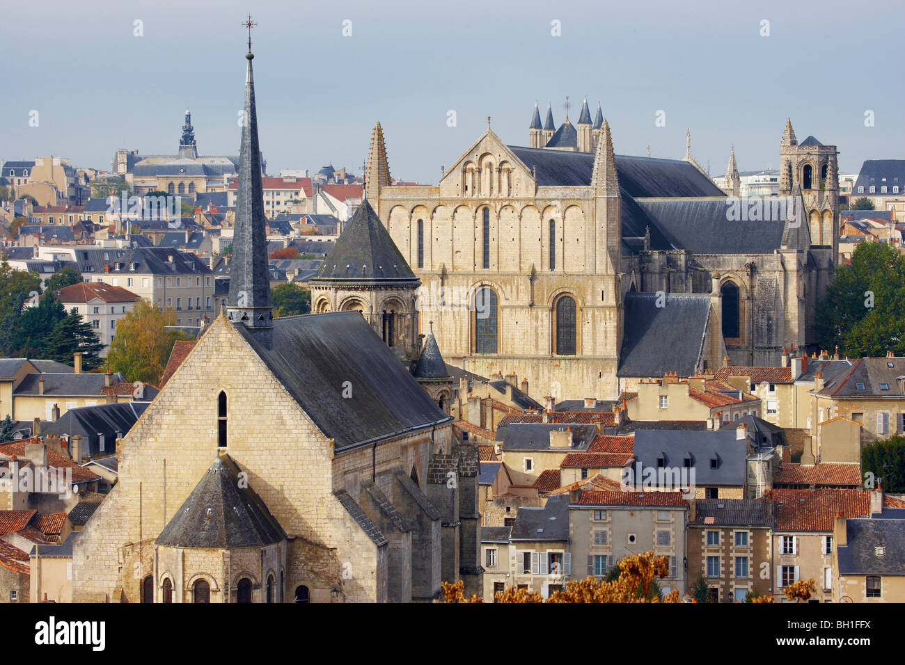 Town of Poitiers with Cathedral St Pierre, Chapel Sainte Radegonde, The Way of St. James, Chemins de Saint Jacques, - Stock Image