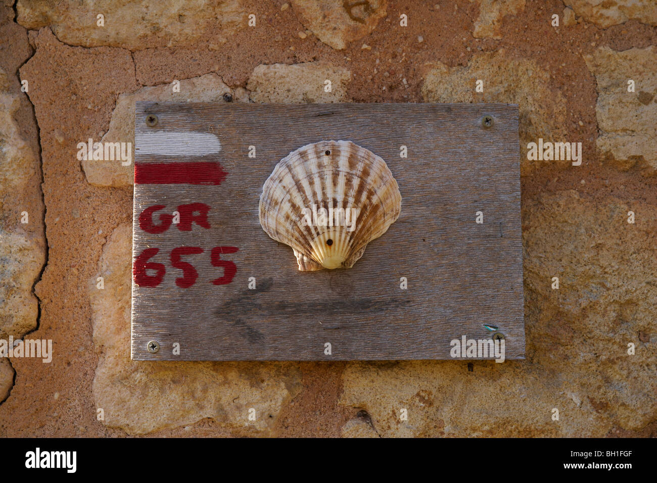 Sign for pilgrims, The Way of St. James, Chemins de Saint Jacques, Via Turonensis, Fenioux, Dept. Charente-Maritime, Stock Photo
