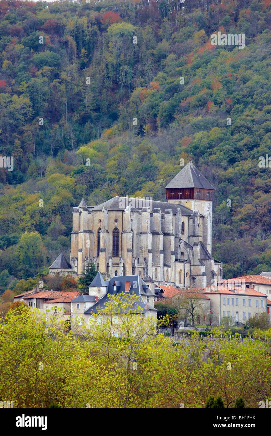 Ancienne Cathédrale Notre Dame at St Bertrand de Comminges, The Way of St. James, Chemins de Saint Jacques, - Stock Image