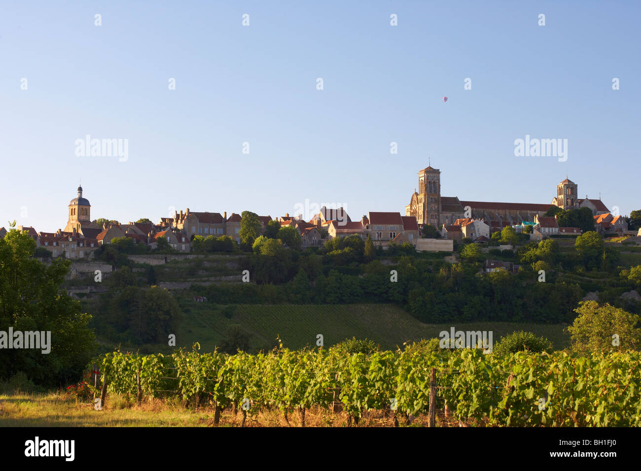 Vezelay with St Mary Magdalene Basilica in the evening, The Way of St. James, Chemins de Saint Jacques, Via Lemovicensis, Stock Photo