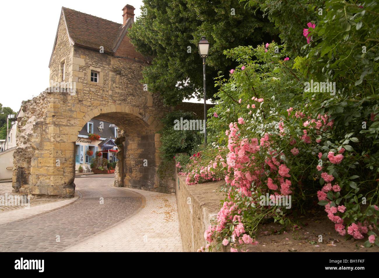 Old town of Nevers, Porte du Croux, Loire, The Way of St. James, Chemins de Saint Jacques, Via Lemovicensis, Nevers, - Stock Image