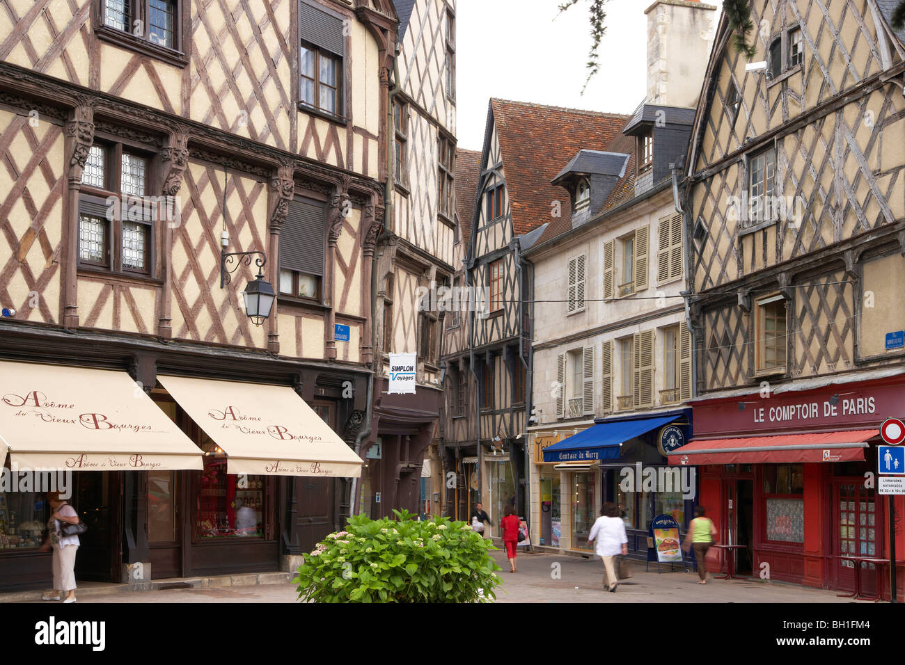 Old city of Bourges with Place Gordaine, The Way of St. James, Chemins de Saint Jacques, Via Lemovicensis, Bourges, - Stock Image
