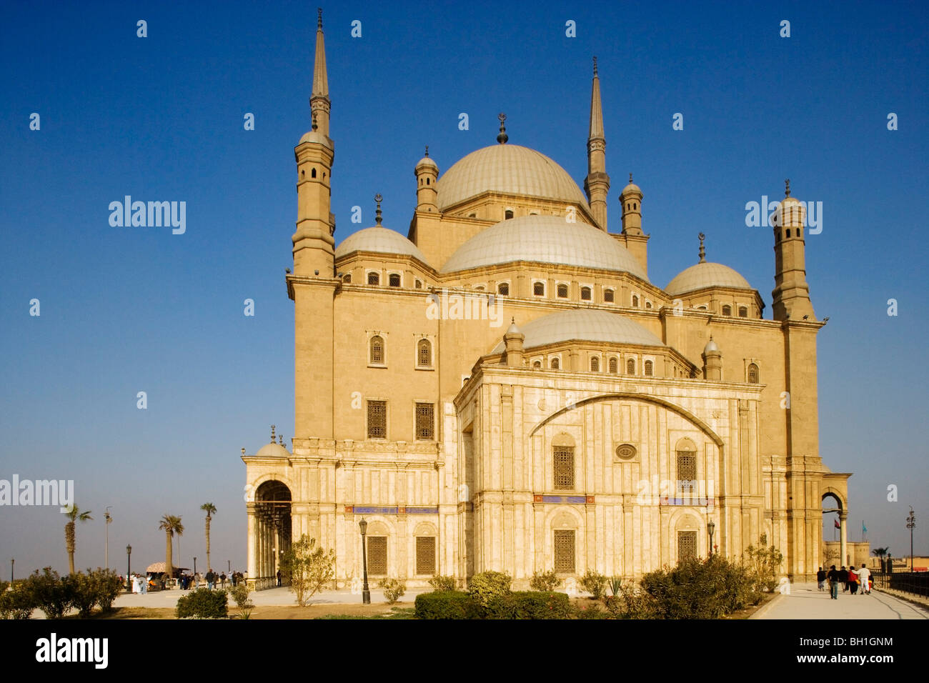 The mosque of Muhammad Ali at the citadel under blue sky, Cairo, Egypt, Africa - Stock Image