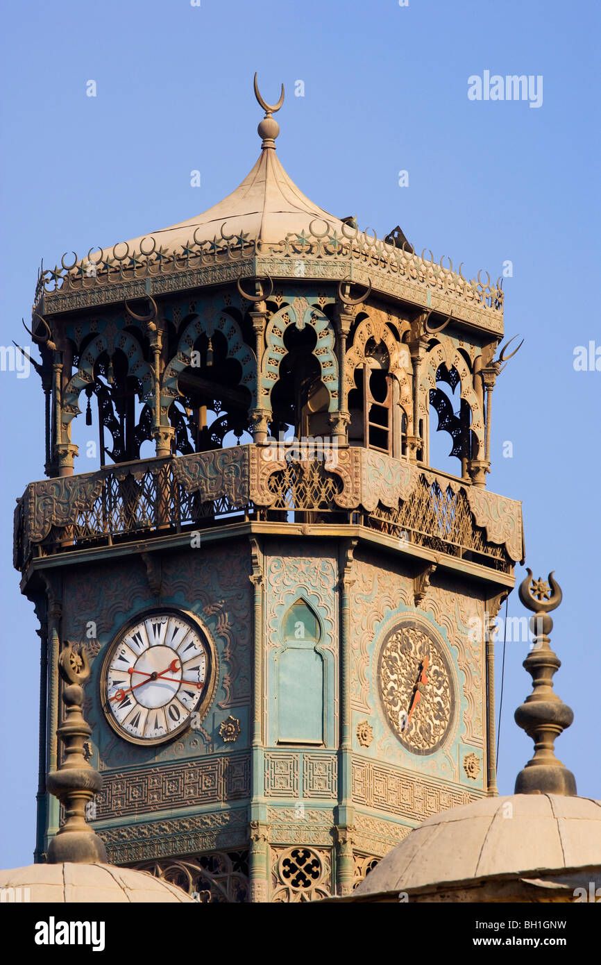 Clock tower of the mosque of Muhammad Ali in front of blue sky, Cairo, Egypt, Africa - Stock Image
