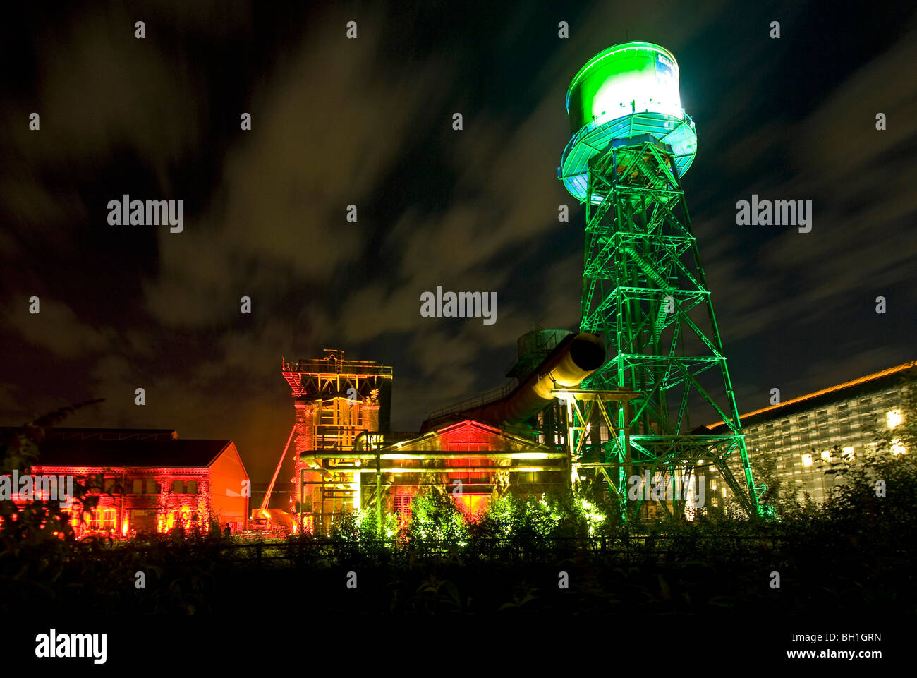 Illumination, Jahrhunderthalle, Bochum, Ruhr district, North Rhine-Westphalia, Germany - Stock Image