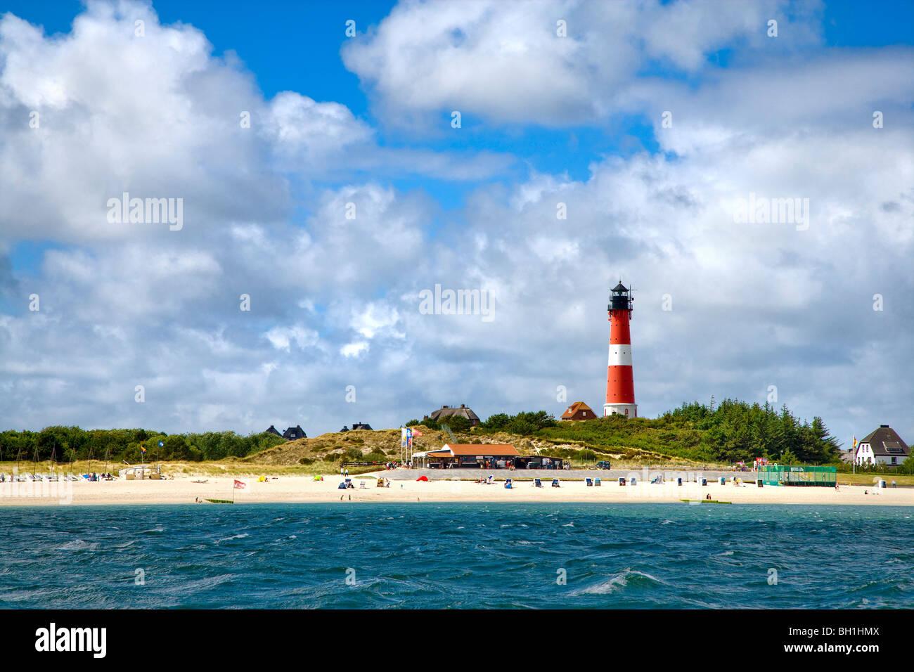 Lighthouse, Hoernum, Sylt Island, Schleswig-Holstein, Germany - Stock Image