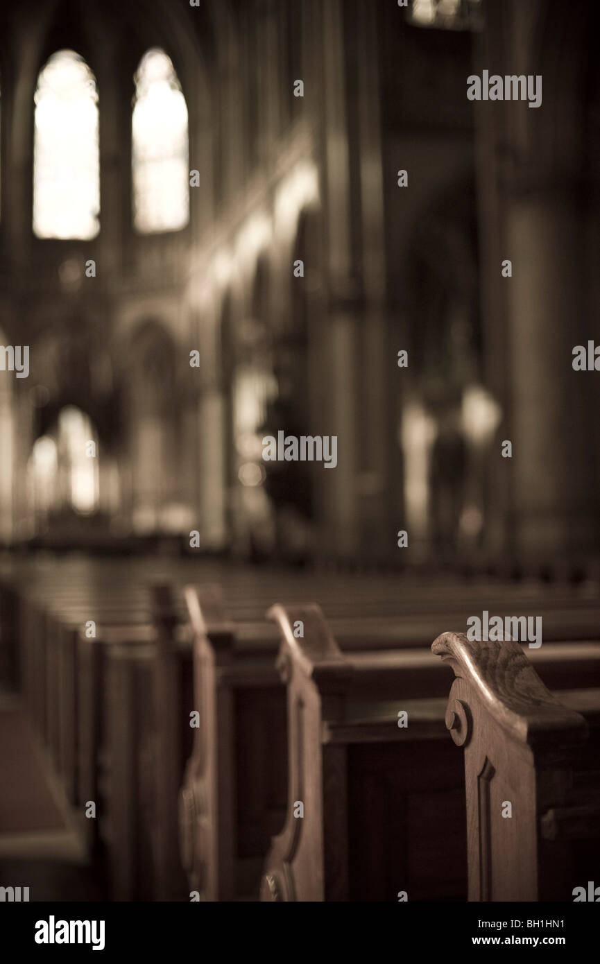 View at the pews at the deserted dome, Alter Dom, Linz, Upper Austria, Austria - Stock Image