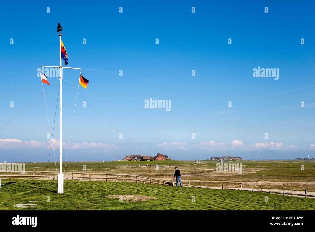Flagpole at Hooge hallig, North Frisian Islands, Schleswig-Holstein, Germany - Stock Image