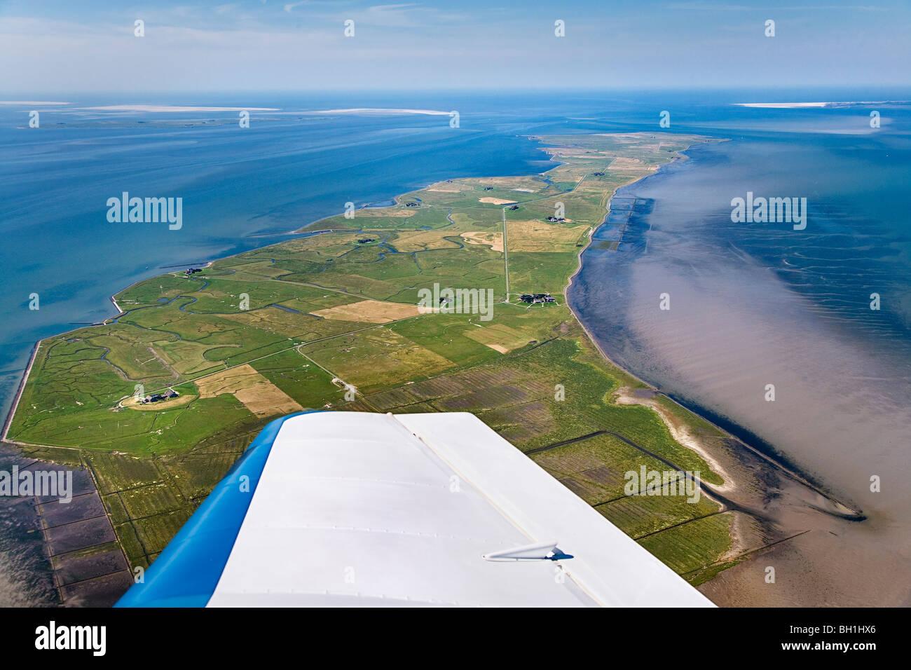 Aerial shot of Langeness hallig, North Frisian Islands, Schleswig-Holstein, Germany - Stock Image