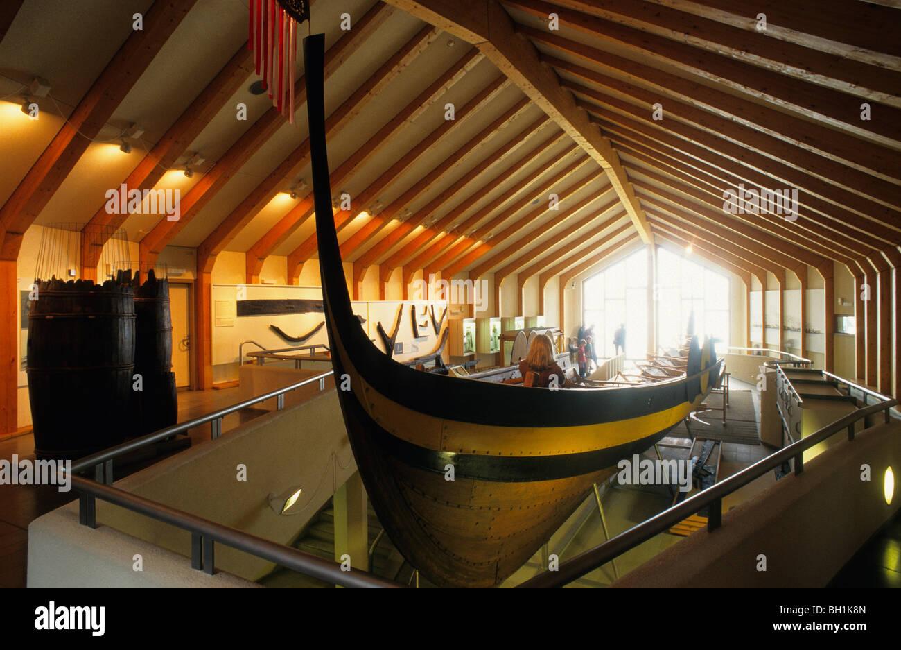 Ship at Viking Museum Haithabu, Schleswig Holstein, Germany, Europe - Stock Image